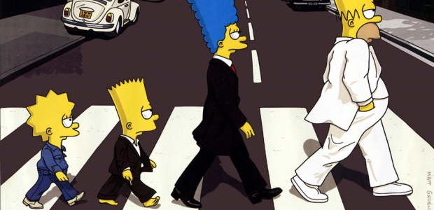 Simpsonovi jako Beatles na přebalu alba Abbey Road Foto: fanpop.com